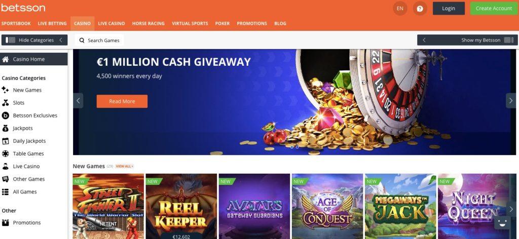 betsson casino home page
