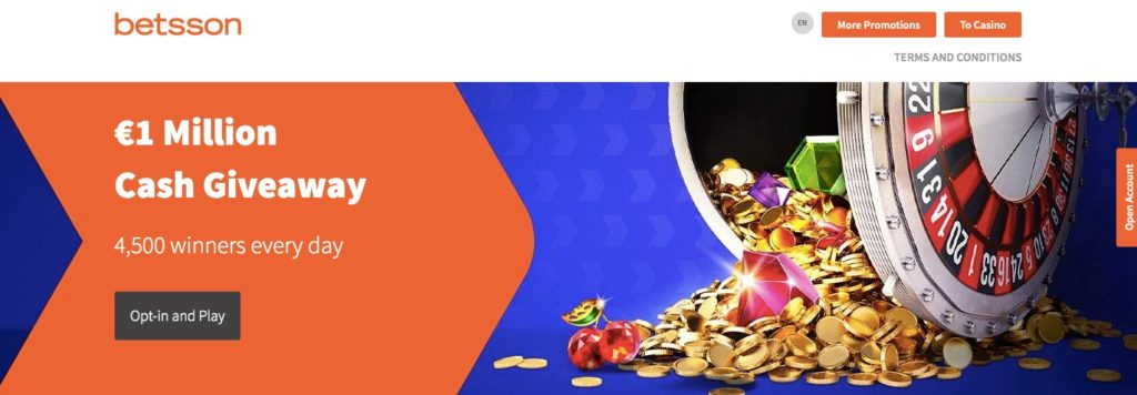 betsson casino promotions showing the €1 million giveaway promo
