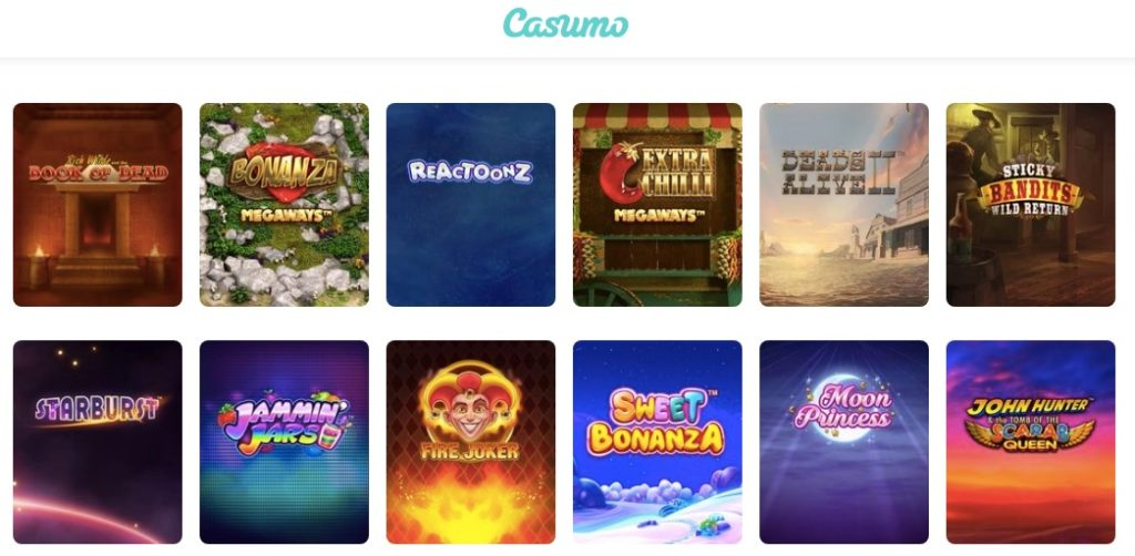 selection of the best slot games at casumo casino