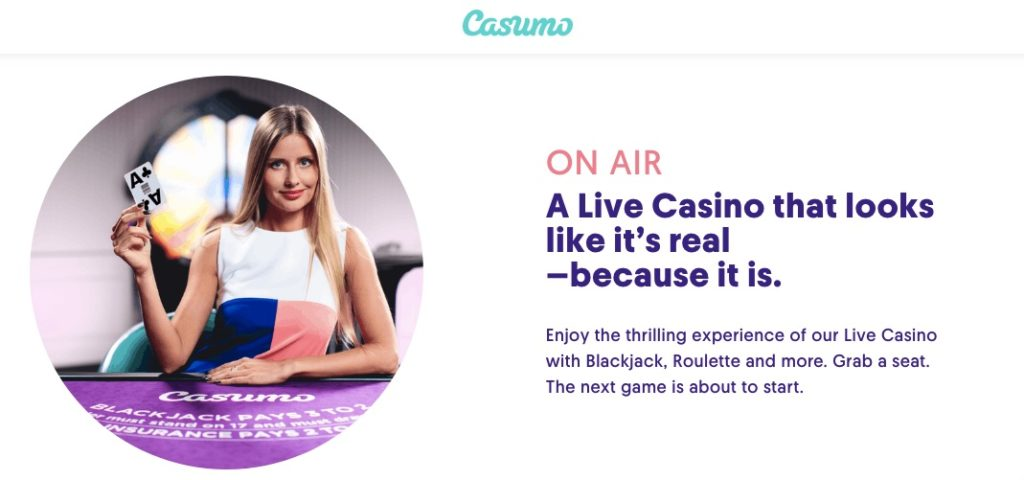 casumo casino showing a live casino dealer