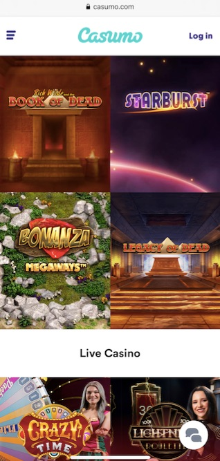 casumo mobile version showing a selection of the best slot and live casino games