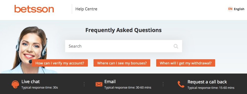 betsson customer support english version page