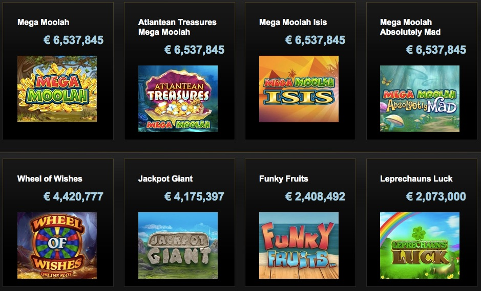 jackpot games on offer at videoslots