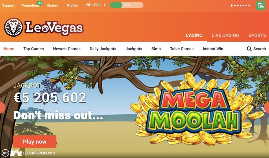 leo vegas home page showing the mega moolah casino jackpot