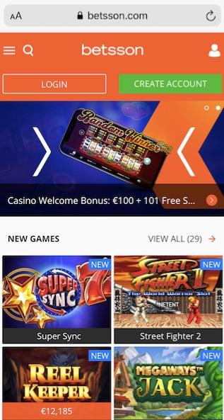 betsson casino mobile version home page