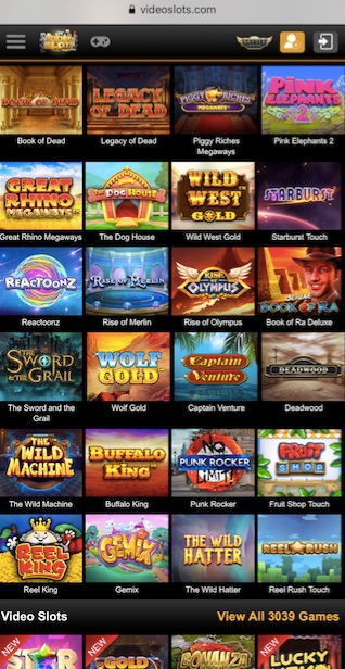 mobile version of videoslots casino showing some of their most popular slot games