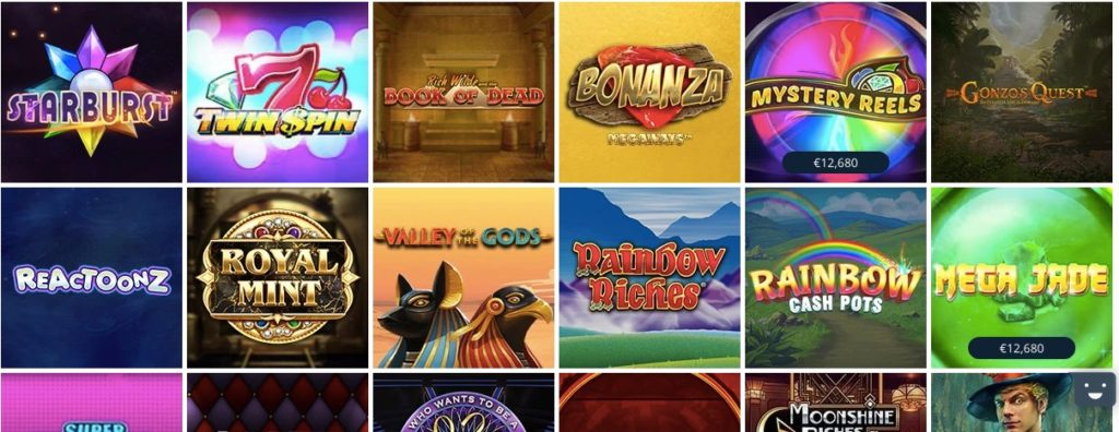 a selection of betsson casinos most popular slot games showing starburst twin spin book of dead and more