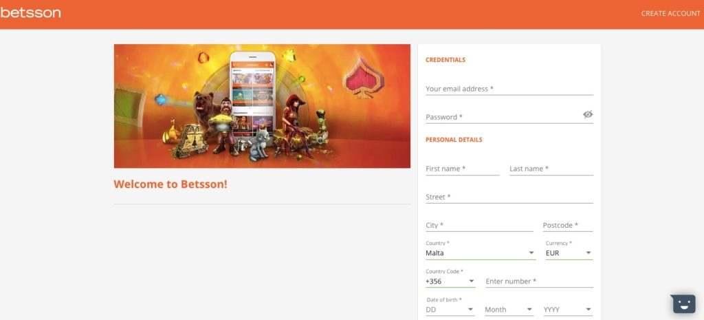 betsson casino registration form