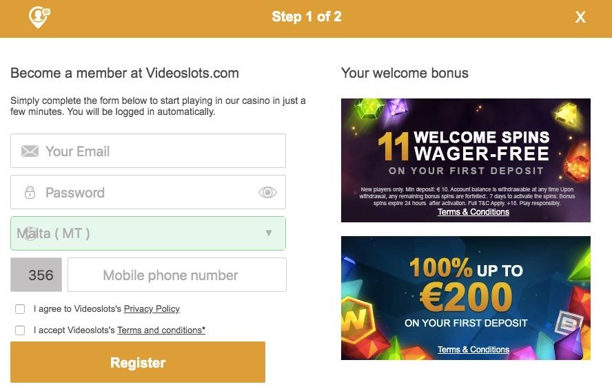 the videoslots casino registration form