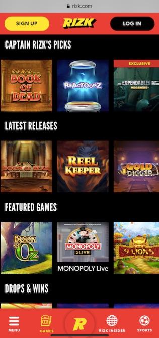 rizk casino mobile version