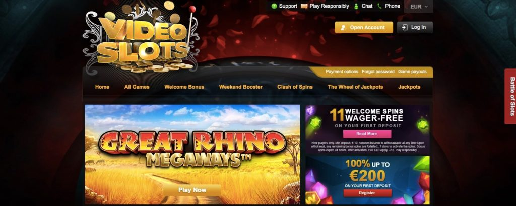 videoslots casino home page