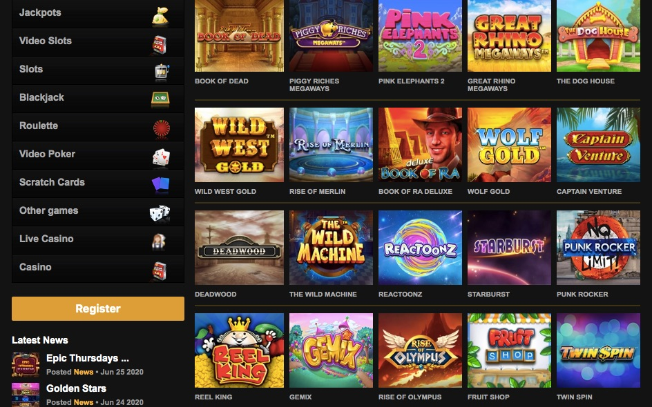 selection of the most popular casino slots at videoslots