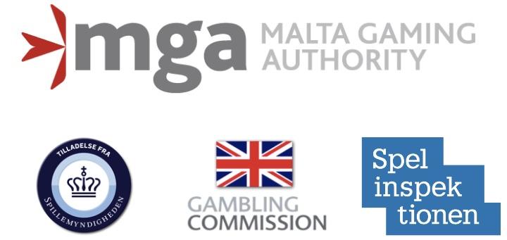 gaming licenses showing the logos of mga ukgc sga and dga