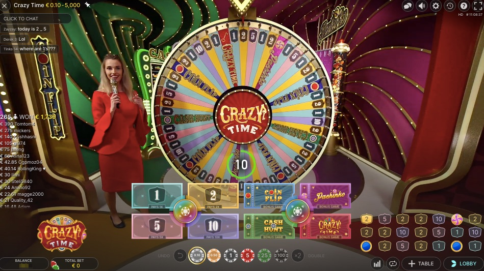 crazy time wheel live game