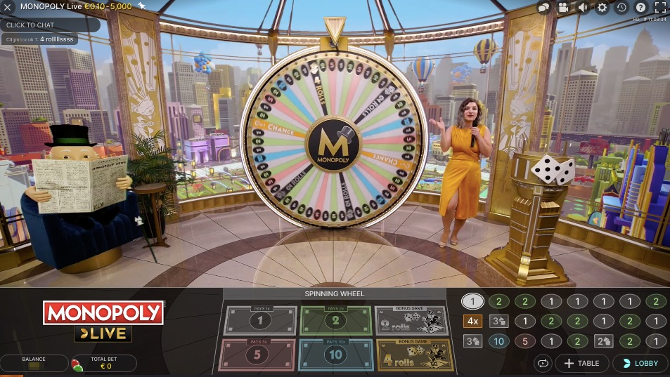 the monopoly live wheel with a presenter