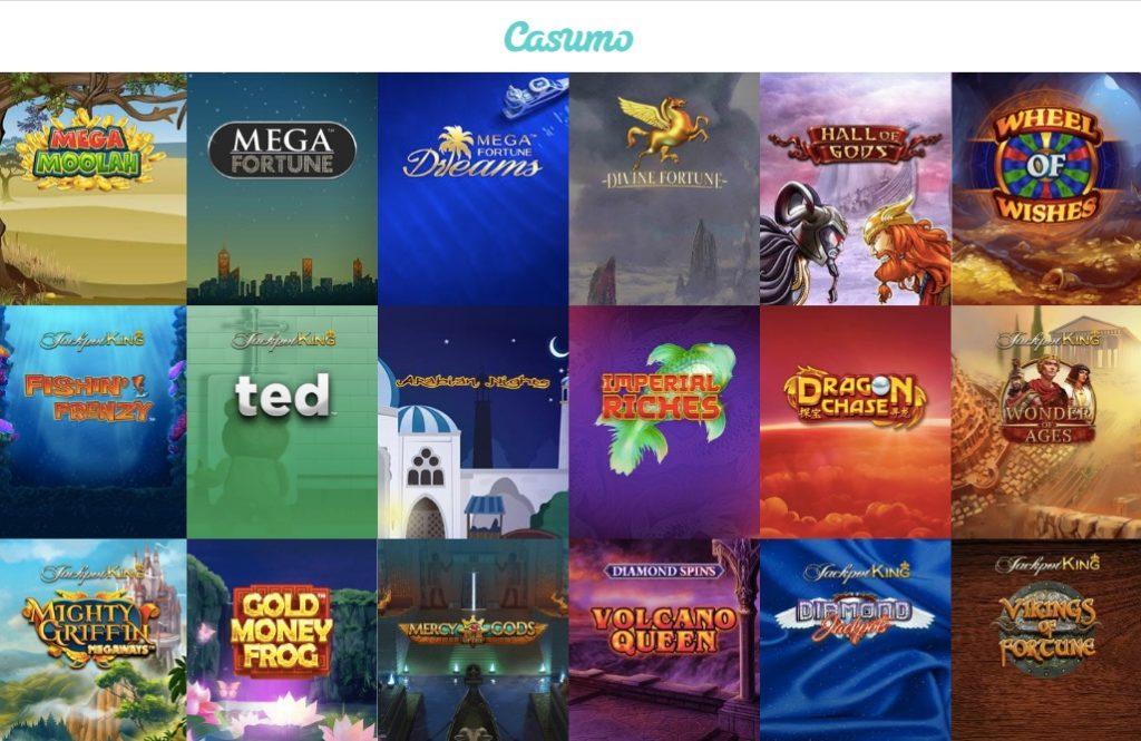 biggest jackpots online like mega moolah and mega fortune visible at casumo casino