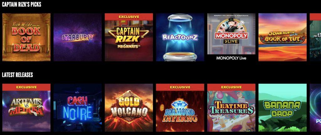 rizk online casino game lobby