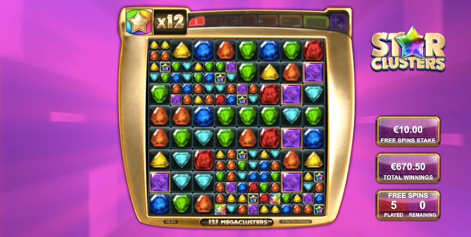 star clusters video slot from big time gaming