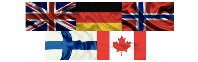 uk germany norway finland and canada flags
