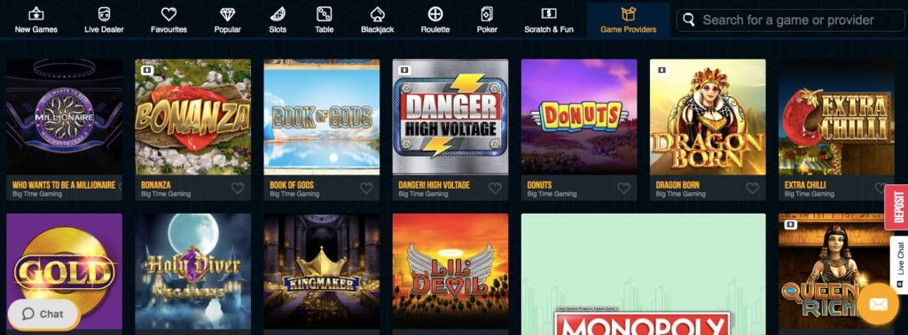 selection of popular online casino games from provider big time gaming