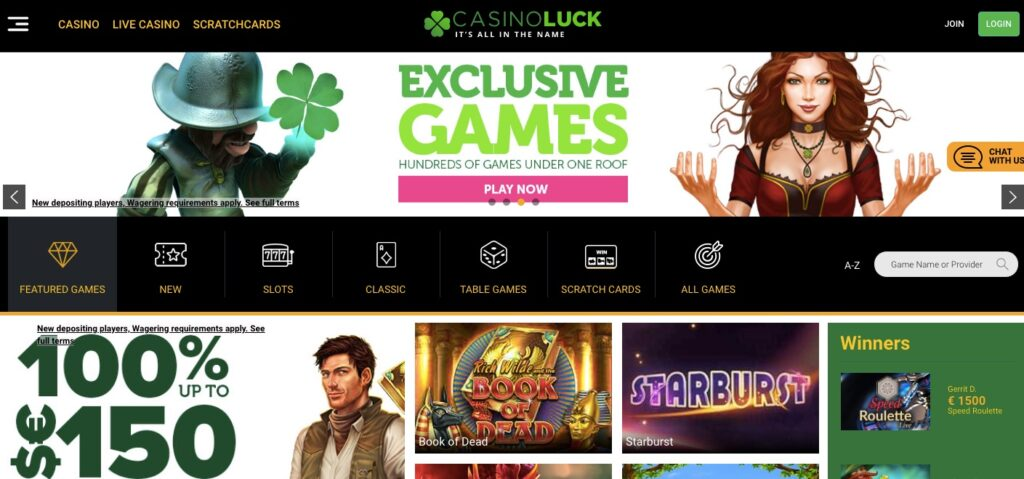 casino luck desktop start page