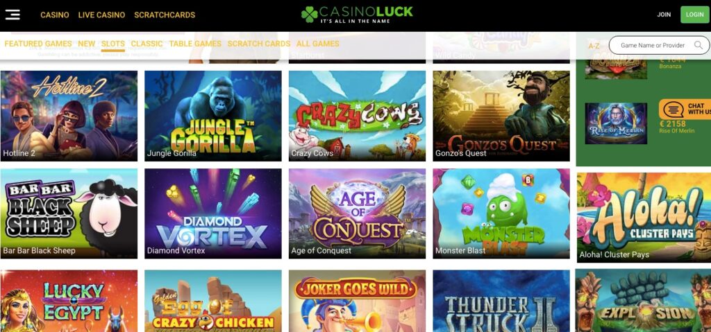 screenshot from the casinoluck game lobby showing popular casino slots