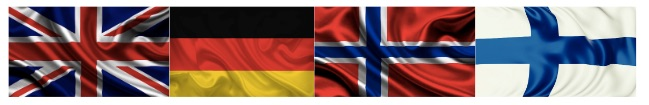 united kingdom germany norway and finland flags