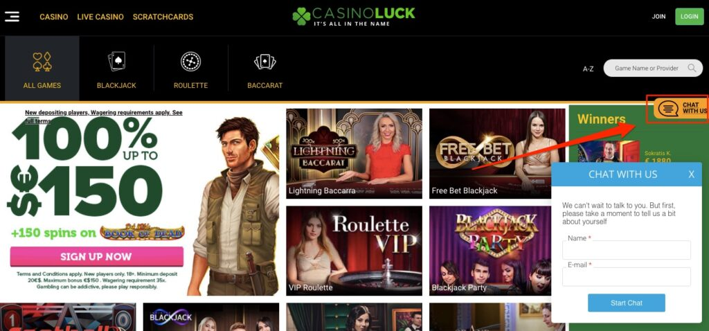 customer support live chat box at casino luck