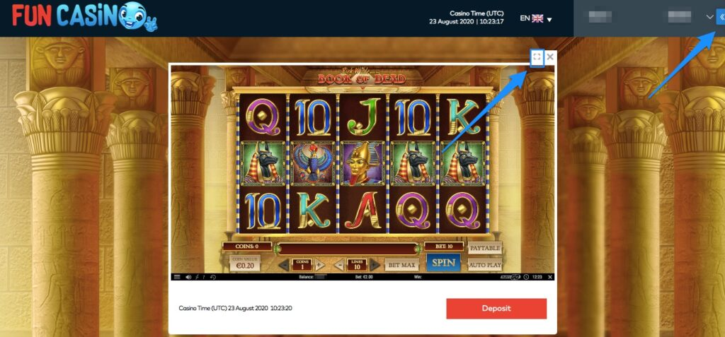 the game window showing the book of dead slot at fun casino