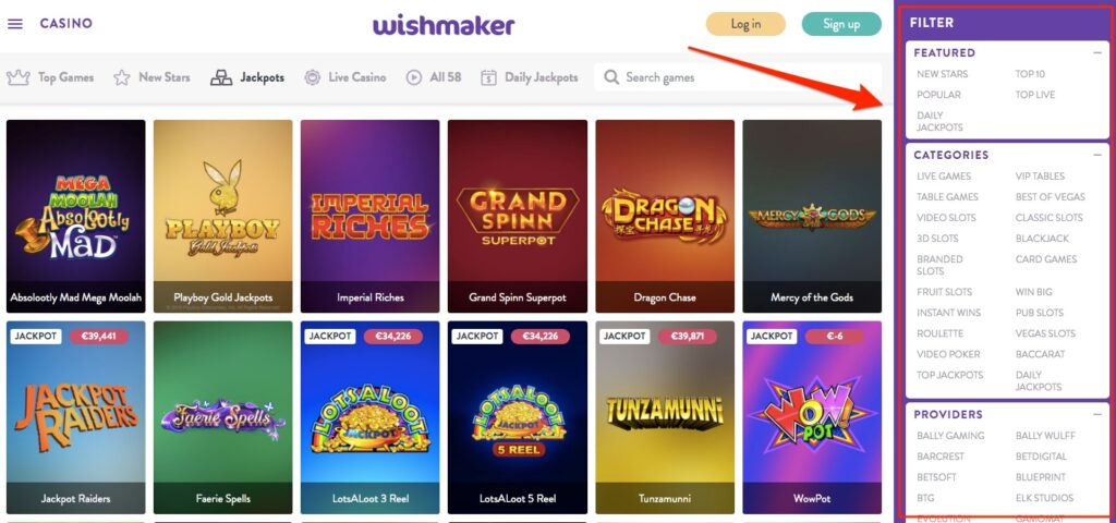the useful game filter at wishmaker casino