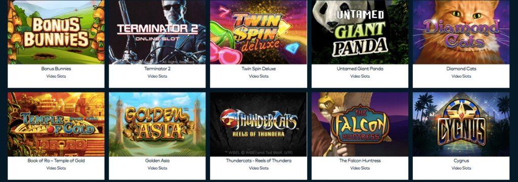screenshot showing popular slot games at funcasino