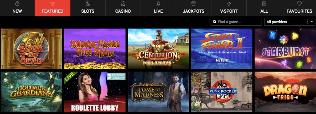 screenshot from the schmitts casino game lobby