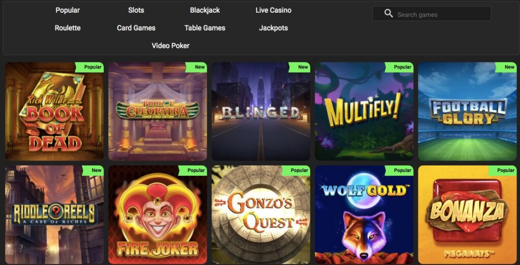 screenshot from the game lobby at swift casino showing popular slot games like book of dead fire joker and bonanza
