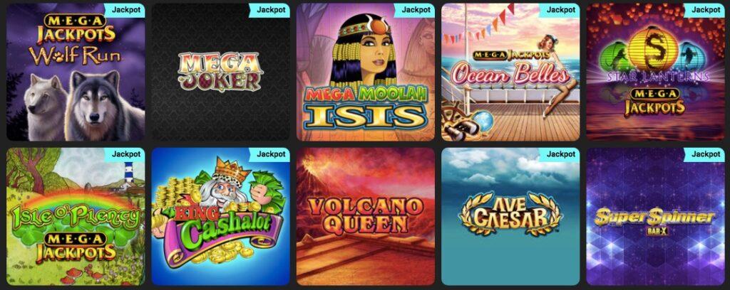 screenshot showing popular jackpot slots at swift casino