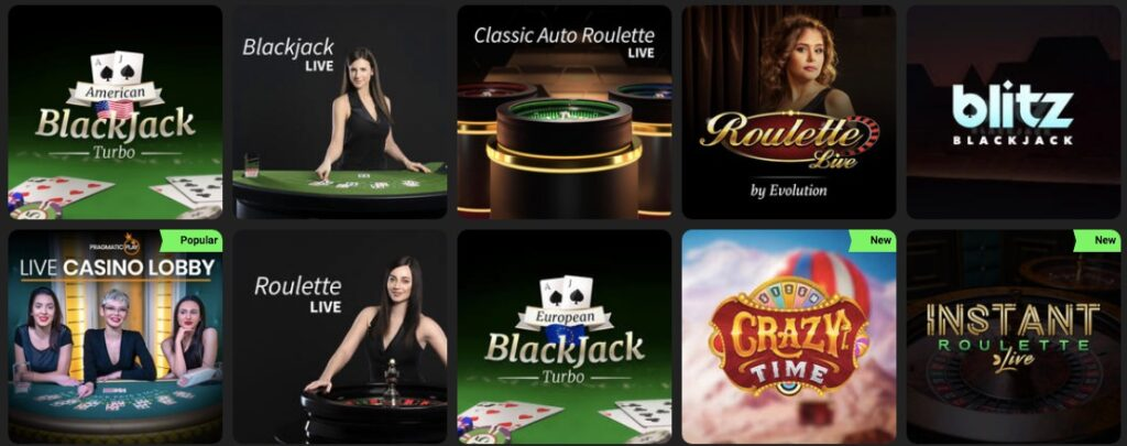 live casino games available at swift casino