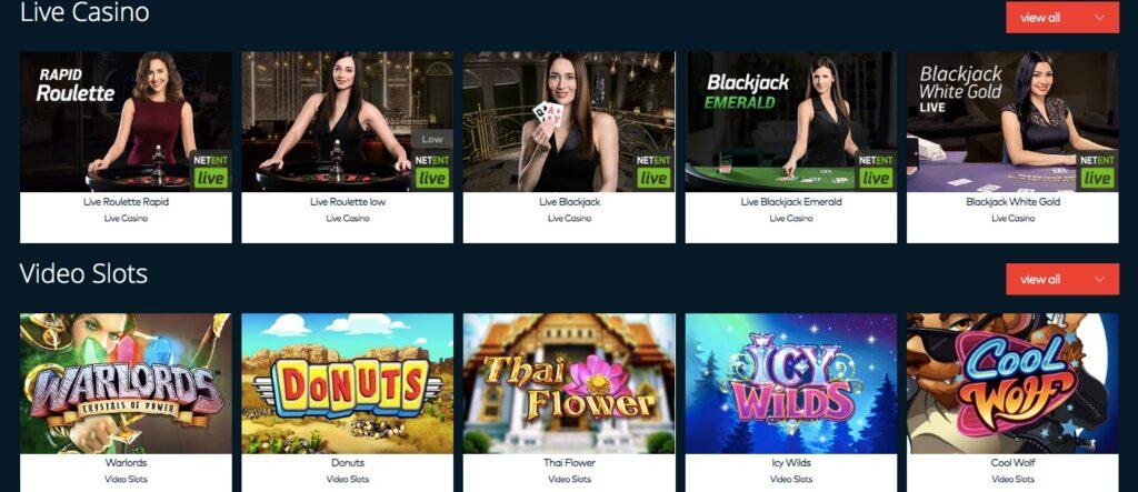 screenshot from fun casino showing live casino and slot games