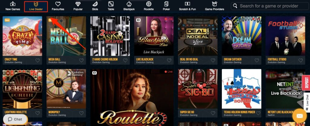 live casino games at dreamvegas