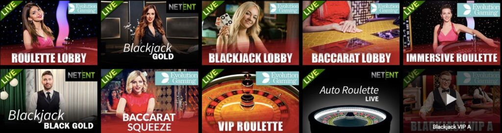 available live casino games