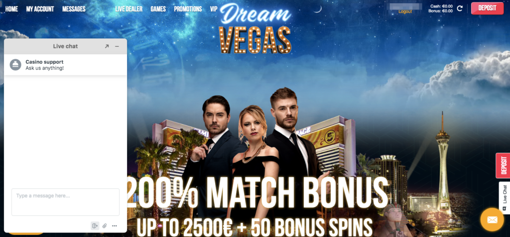 live chat pop up at dream vegas online casino