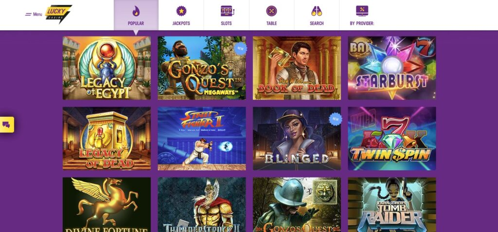 some of the most popular slots at lucky casino