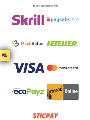 available payment methods showing the logos of skrill paysafe muchbetter neteller visa marstercard ecopayz interac and sticplay