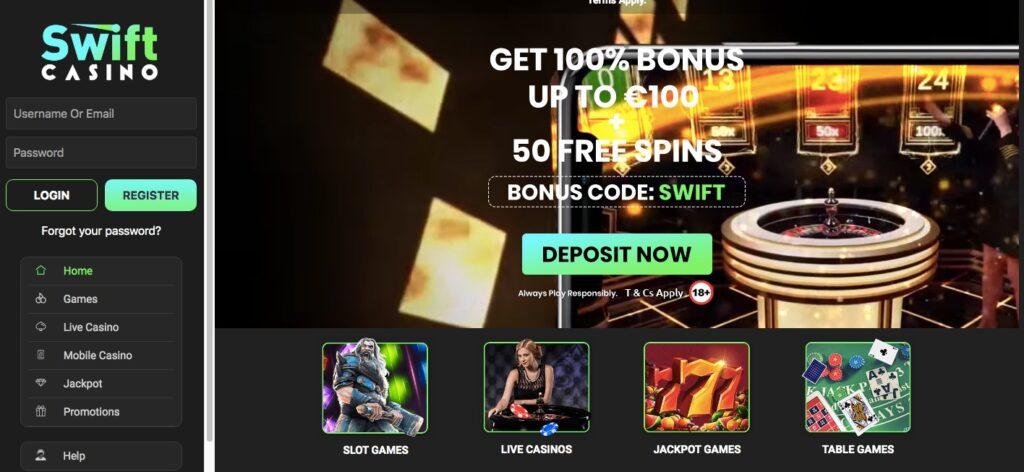 swift casino desktop start page