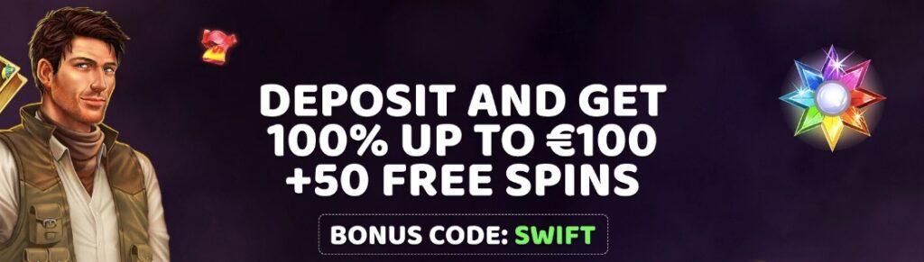 swift casino welcome bonus banner