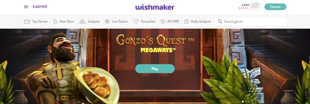 gonzos quest megaways at wishmaker casino