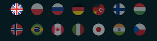 screenshot showing the flags of the 7 available language options