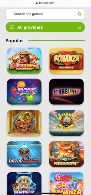 the betpat casino mobile version showing the game lobby