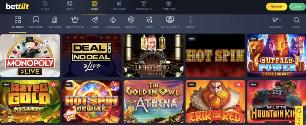 screenshot of bettilt casino game lobby showing 10 popular games
