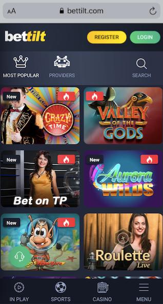 bettilt casino mobile version showing 6 popular casino games