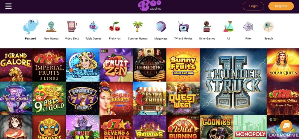 boo casino game lobby desktop