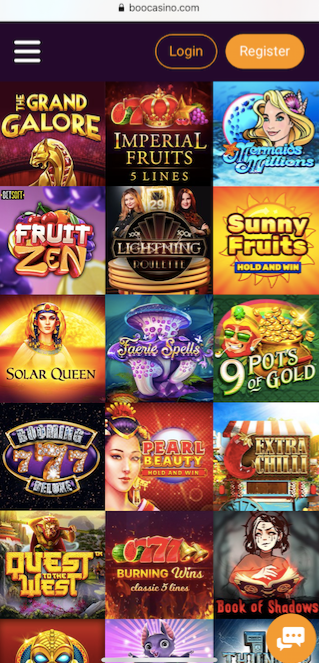 mobile version of boo casino showing 15 popular games